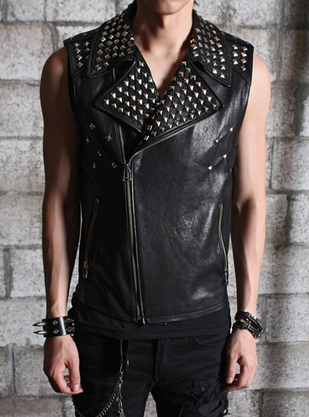 goth funk leather rider vest