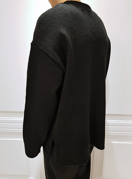 over fit knit -Black