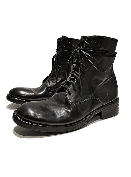 GOLEMETH 008 . Artisan classic boots 10hole Black horse leather(Washed) ORDER MADE