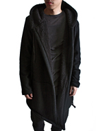 wool hooded shawl coat